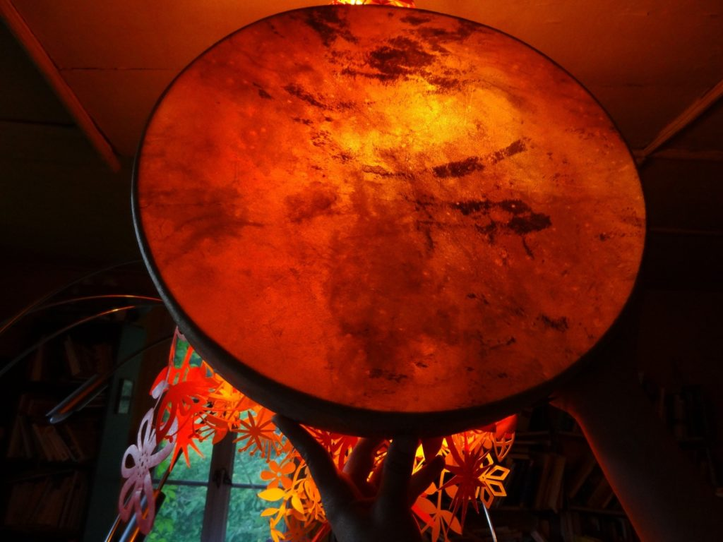 shamanic drum sunset