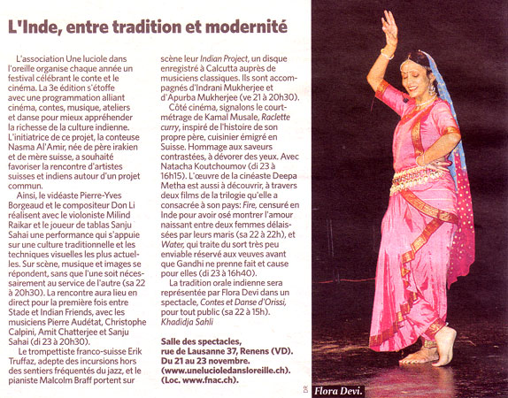 the dancer Flora Devi for the festival Une Luciolle dans l'Oreille by Nasma Al Amir