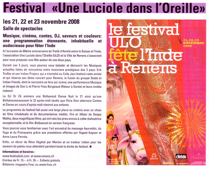 ULO festival in Renens Switzerland about music from India