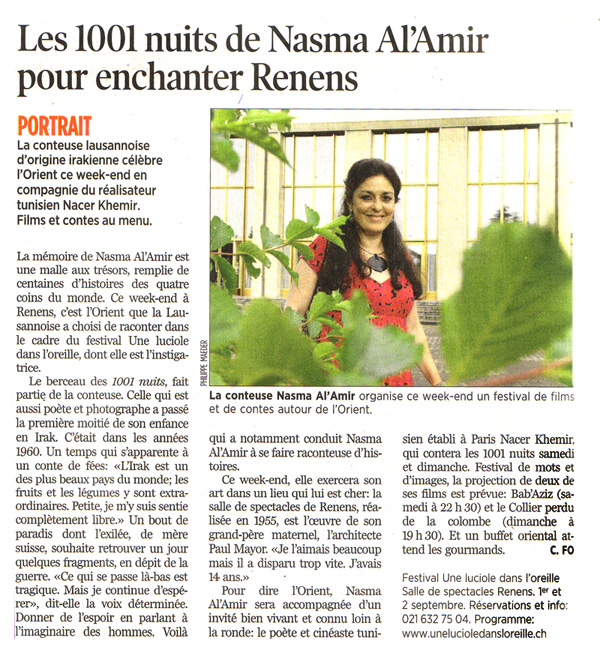 the 1001 Night with Nasma Al Amir in Renens Switzerland